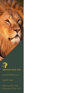Green Zoo Letterhead with Picture of Lion Animal