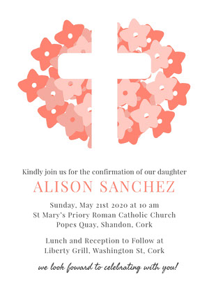 Pink and White Confirmation Invitation Confirmation Invitation
