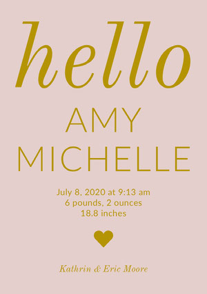 Pink and Gold Baby Girl Birth Announcement Card Birth Announcement