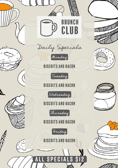 grey black and white brunch club cafe menu  Brunch