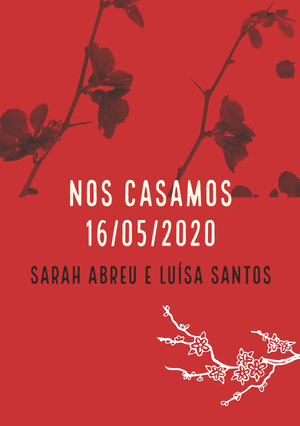 red and orchids wedding announcements  Anúncio de casamento