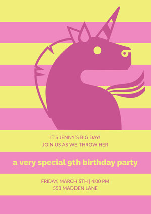 Yellow and Pink Illustrated Birthday Party Invitation Card with Unicorn Tarjeta de cumpleaños de unicornio
