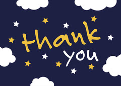 Yellow and Blue Thank You Card  Stars