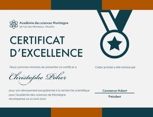 CERTIFICAT <BR>D'EXCELLENCE  Certificat