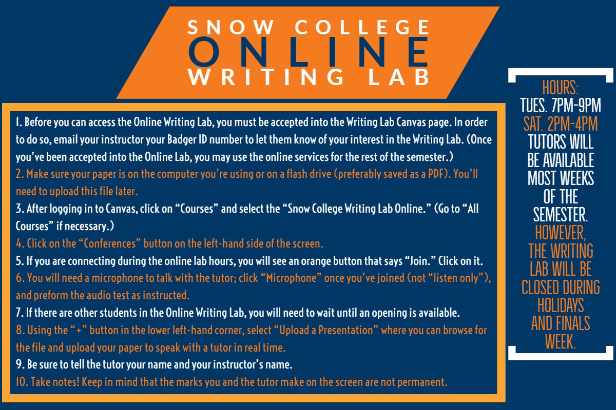 """SNOW COLLEGE ONLINE WRITING LAB SNOW COLLEGE ONLINE WRITING LAB HOURS: Tues. 7pm-9pm Sat. 2pm-4pm Tutors will be available most weeks of the semester. However, the Writing Lab will be closed during holidays and finals week. 1. Before you can access the Online Writing Lab, you must be accepted into the Writing Lab Canvas page. In order to do so, email your instructor your Badger ID number to let them know of your interest in the Writing Lab. (Once you've been accepted into the Online Lab, you may use the online services for the rest of the semester.) 2. Make sure your paper is on the computer you're using or on a flash drive (preferably saved as a PDF). You'll need to upload this file later. 3. After logging in to Canvas, click on """"Courses"""" and select the """"Online Writing Lab."""" (Go to """"All Courses"""" if necessary.) 4. Click on the """"Conferences"""" button on the left-hand side of the screen. 5. If you are connected during the online lab hours, you will see an orange button that says """"Join."""" Click on it. 6. You will need a microphone to talk with the tutor; click """"Microphone"""" once you've joined (not """"Listen Only""""), and preform the audio test as instructed. 7. If there are other students in the Online Writing Lab, you will need to wait until an opening is available. 8. Using the """"+"""" button in the lower left-hand corner, select """"Upload a Presentation"""" where you can browse for the file and upload your paper to speak with a tutor in real time. 9. Be sure to tell the tutor your name and your instructor's name. 10. Take notes! Keep in mind that the marks you and the tutor make on the screen are not permanent."""