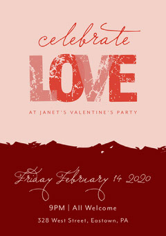 Pink and Claret Valentines Party Invitation Holiday Party Flyer
