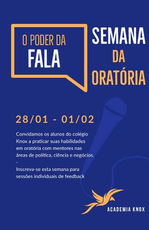 public speaking event poster Pôster de evento