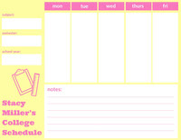 Yellow and Pink Weekly College Schedule  College Schedule