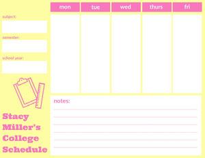 Stacy Miller's <BR>College Schedule  College Schedule