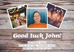 brown white good luck John retirement party invite card  Farewell