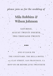 Mila Robbins & Wilson Johnson  Wedding Cards