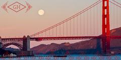 Red Business LinkedIn Banner with Golden Gate Bridge at Sunset California