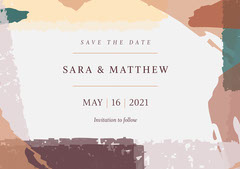 Earth Tone Modern Abstract Wedding Save the Date Paint