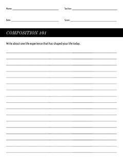 Black and White Empty Writing Worksheet Classroom