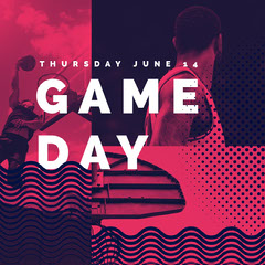 Red and White Game Day Instagram Graphic Sports