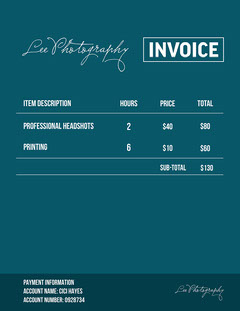 Navy & White Photography Invoice Letter Photography
