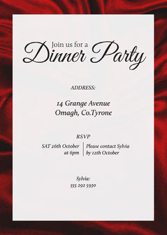 Red Fabric Dinner Party Invitation Drink