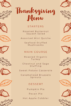 Acorn Thanksgiving Dinner Menu Thanksgiving Menu