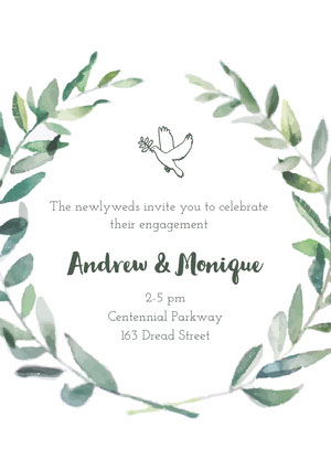 White and Green Engagement Party Invitation Bekendtgørelse af forlovelse