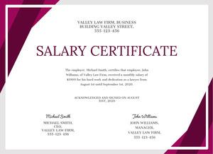 law salary certificate  Certificate