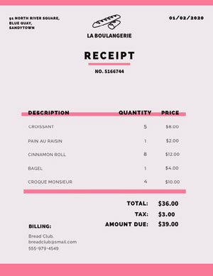 Pink Bakery Business Invoice Faktura