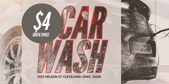 Black and White Car Wash Ad Flyer Car