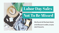 Blue Cold Toned Labor Day Sale Facebook Banner Ad Labor Day Flyer