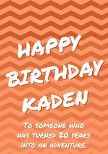 Orange Zig Zag Pattern Happy Birthday Card Birthday Card