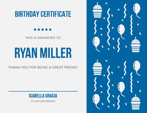 Blue Illustrated Birthday Certificate from Girlfriend Birthday Certificate