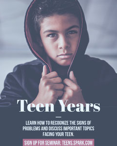 Red and Blue Seminar on Teenage Problems Flyer with Portrait of Boy Sign