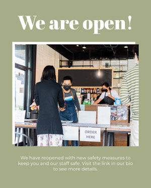 "Pale Green Cafe Reopening and Coronavirus Safety Measures Instagram Portrait Announcement ""Wir sind offen"" -Plakate"