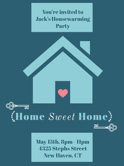 Blue Housewarming Party Invitation Housewarming Invitation