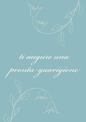 white flowers and blue get well soon cards Biglietto d'auguri di pronta guarigione