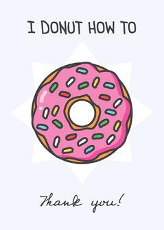 Pink and Purple Cartoon Donut Pun Card Donut