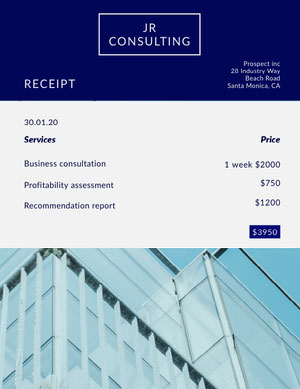 Blue and White Consulting Services Receipt Report Card