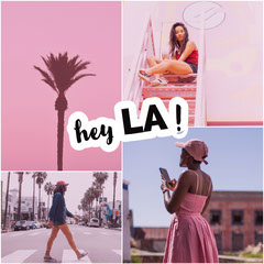 Pink Los Angeles California Travel and Tourism Square Instagram Graphic with Collage California