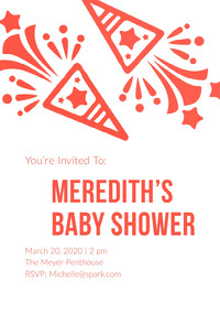 White and Red Baby Shower Invitation Convite para chá de bebê