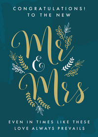 Teal and Gold Elegant Floral Wedding Congratulations Card Congratulations Messages