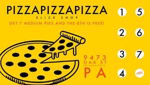 yellow modern pizzeria loyalty card Loyalty cards