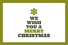 Green, Grey and White Christmas Tree Shaped Wishes Facebook Banner Card Christmas