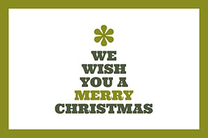 Green, Grey and White Christmas Tree Shaped Wishes Facebook Banner Card Christmas Card