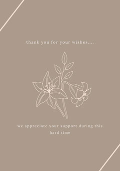 Grey and White Thank You Card Funeral