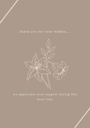 thank you for your wishes.... Funeral Thank You Card