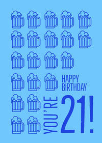 Blue, Symbolic, Funny Birthday Card  誕生日カード