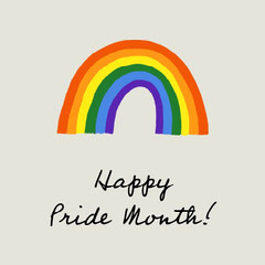 Simple Pride Month Message with Rainbow Illustration Holiday Party Flyer