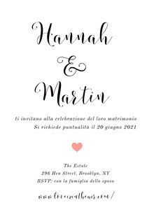 white and pink heart wedding cards  Biglietti di ringraziamento per il matrimonio