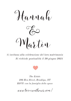 white and pink heart wedding cards  Invito tramite e-mail