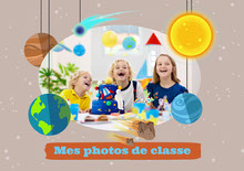 Multicolour Solar System School Pictures Photo Album Cover Couverture de livre