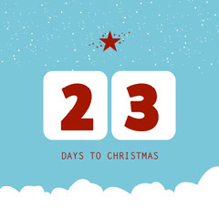 Blue & White Christmas Countdown Instagram Square Christmas