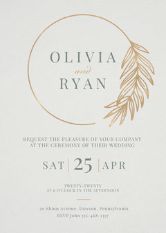 Circle Branch Wedding Invitation Gold